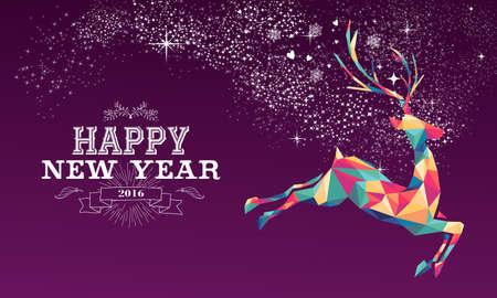 nowy rok: Szczęśliwego nowego roku 2016 kartkę z życzeniami lub plakatu wzór z kolorowych reniferów trójkąta i rocznika etykieta ilustracji. Wektora EPS10.