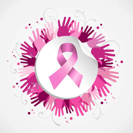 Breast cancer awareness social support hand poster with pink ribbon badge. EPS10 vector.