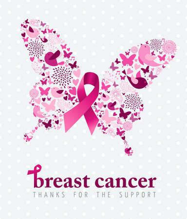 senos: Cartel de la ayuda del cáncer de pecho, cinta del rosa con elementos icono de primavera como alas de mariposa. Vector EPS10.