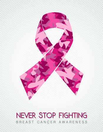 cancer awareness ribbon: Womens fight concept pink camouflage ribbon with text for breast cancer awareness cause. EPS10 vector.