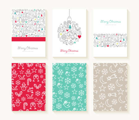 Merry christmas set of line icon seamless patterns with outline xmas ornaments and font templates. Ideal for holiday greeting cards, print, or wrapping paper. EPS10 vector file.