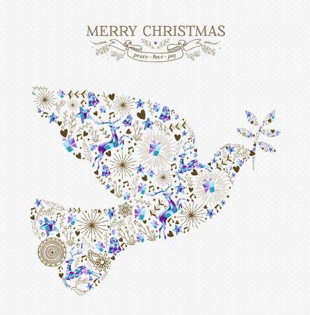 Joyeux Noël paix colombe forme composition avec des éléments de vacances vintage et Rennes. Idéal pour une carte de voeux de Noël ou une invitation. Vecteur EPS10.