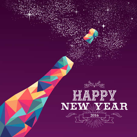 new years eve: Happy new year 2016 greeting card or poster design with colorful triangle champagne explosion bottle and vintage label illustration. EPS10 vector.