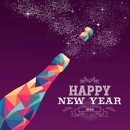bouteille champagne: Nouvelle carte de voeux ou une affiche conception heureuse ann�e 2016 color� bouteille triangle champagne explosion et illustration vintage d'�tiquette. Vecteur EPS10. Illustration