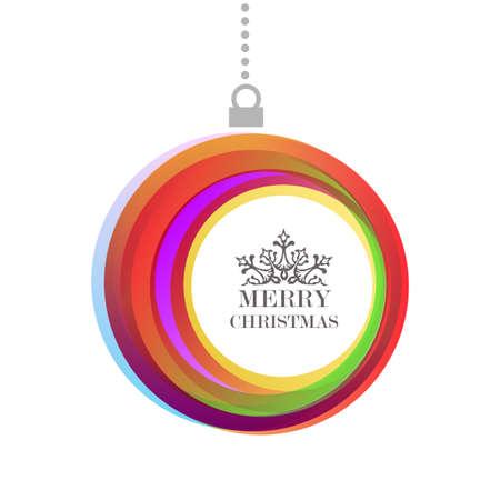 template: Merry christmas kleurrijke bauble ornament met tekst, ideaal voor vakantie wenskaart achtergrond of uitnodiging. EPS10 vector-bestand. Stock Illustratie