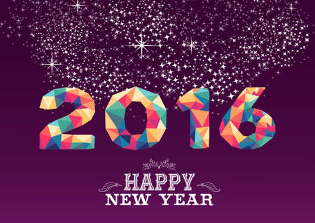 happy new year: Frohes neues Jahr Grußkarte oder Poster-Design mit bunten Dreieck 2015 Form und Vintage-Label-Illustration. EPS10-Vektor. Illustration