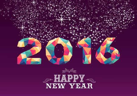 feliz: Nuevo diseño de la tarjeta de felicitación de año o un cartel feliz con colorido triángulo 2015 forma y la ilustración de etiquetas de la vendimia. Vector EPS10.