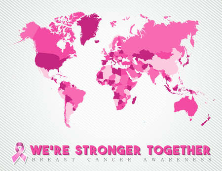 cancer symbol: United against breast cancer pink worldwide map global concept art for awareness month.  EPS10 vector.