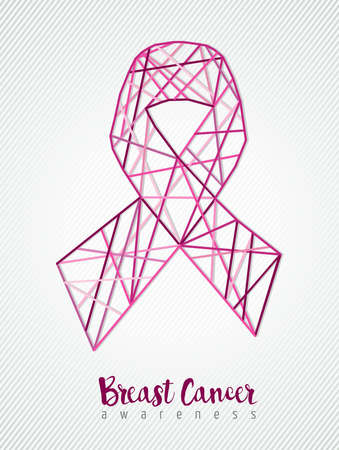 Breast cancer awareness pink ribbon in line art abstract geometry style. EPS10 vector. Illustration