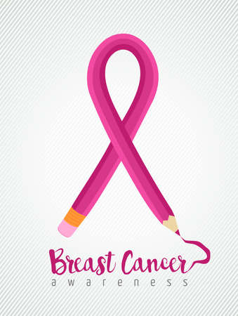 cancer ribbon: Breast cancer education concept poster with pink pencil as ribbon for awareness month. EPS10 vector.