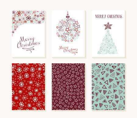 Merry christmas set of seamless patterns with outlined xmas decoration shapes and text templates. Ideal for holiday greeting cards, print, or wrapping paper. EPS10 vector file.