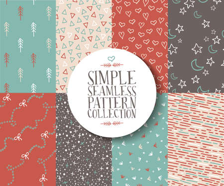 Simple seamless pattern collection of vintage hipster style hand drawn elements in soft colors. EPS10 vector.