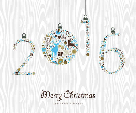 new year card: Merry Christmas and Happy New Year 2016 vintage xmas ornaments, hipster wood background. Ideal for holiday party invitation or greeting card. EPS10 vector.