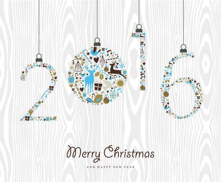 New Year: Wesołych Świąt i Szczęśliwego Nowego Roku ozdoby 2016 rocznika xmas, tło drewna hipster. Idealny na zaproszenie partii wakacje lub karty z pozdrowieniami. Wektora EPS10.