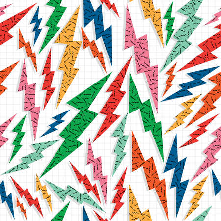 memphis: Retro vintage 80s memphis thunder bolt seamless pattern background. Ideal for fabric design, paper print and web backdrop. EPS10 vector file. Illustration