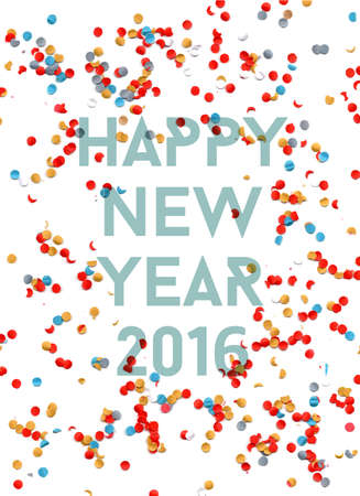 new year eve confetti: Happy new Year celebration 2016 with party confetti template background. Ideal for holiday greeting card, print poster and web. EPS10 vector. Illustration
