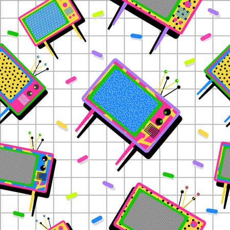 레트로 빈티지 80 년대 멤피스 네온 컬러 TV 요소 원활한 패턴 배경. 직물 디자인, 종이 인쇄 및 웹 배경에 이상적입니다. EPS10 벡터 파일입니다.