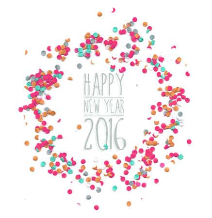 nowy rok: Szczęśliwego nowego roku 2016 z szablonów stron konfetti tle. Idealny na kartkę z życzeniami na wakacje, plakat i internecie. Wektor eps10.