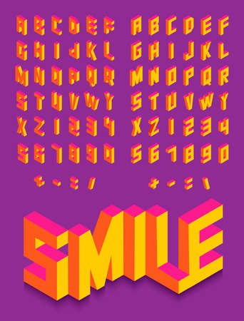Colorful isometric 3d type font set isolated background illustration. EPS10 vector file. Vectores