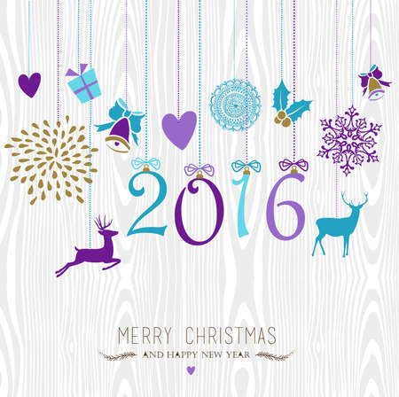 year greetings: Merry Christmas and Happy New Year 2016 hanging vintage xmas ornaments, hipster wood background. Ideal for holiday party invitation or greeting card. EPS10 vector.