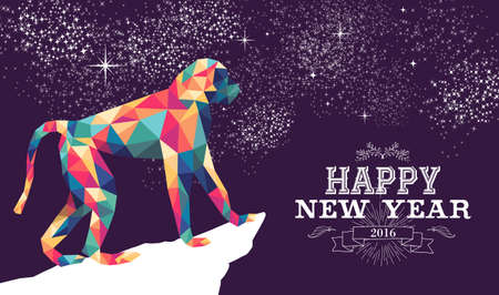 abstract gorilla: 2016 Happy Chinese New Year of the Monkey with colorful hipster low poly triangle ape and label illustration. EPS10 vector. Illustration