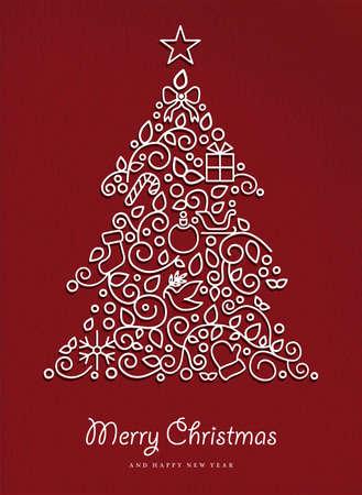 hojas de arbol: Feliz Navidad y Feliz nuevo �rbol de pino a�os hecho en estilo de esquema moderno, con simples adornos de Navidad. Ideal para tarjeta de vacaciones, cartel, o la invitaci�n del partido. Vector EPS10.