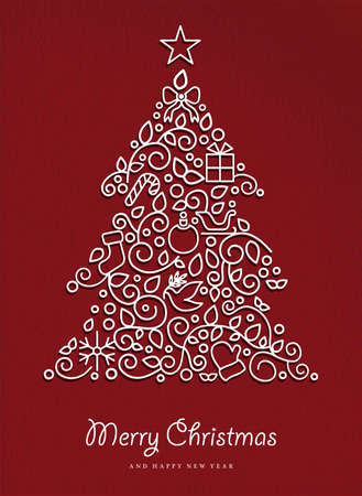 greeting card backgrounds: Merry christmas and happy new year pine tree made in modern outline style with simple xmas ornaments. Ideal for holiday card, poster, or party invitation. EPS10 vector.