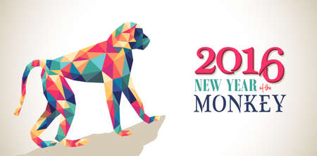 abstract gorilla: 2016 Happy Chinese New Year of the Monkey banner with colorful hipster low poly triangle ape and text. EPS10 vector.