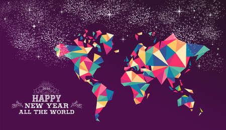 estrellas moradas: Feliz año nuevo alrededor de la tarjeta de felicitación de todo el mundo o un cartel de diseño mundial 2016 con coloridos triángulo el mapa del mundo y de la ilustración de etiquetas de la vendimia. Vector EPS10.