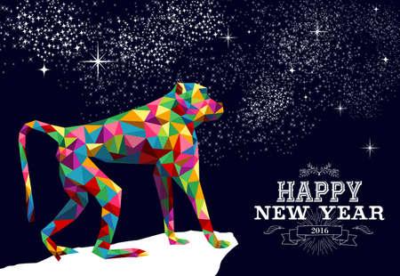 monos: 2016 Feliz A�o Nuevo Chino del Mono con colorido inconformista baja poli mono tri�ngulo y la etiqueta de ilustraci�n. Vector EPS10.