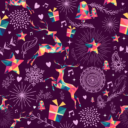 クリスマス ヴィンテージのレトロなスタイルのシームレスなパターン。カラフルなヒップスター三角トナカイとホリデイ ・元素組成。EPS10 ベクトル
