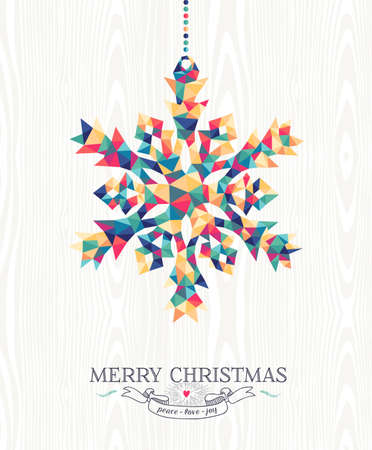 Merry Christmas trendy hipster snowflake made with colorful geometry triangles on wood background. Ideal for holiday greeting card, xmas poster or web template. EPS10 vector.