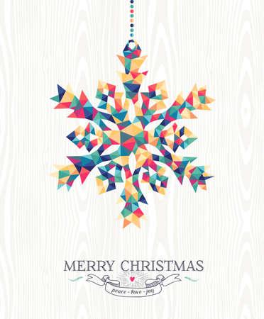 Merry Christmas trendy hipster sneeuwvlok gemaakt met kleurrijke geometrie driehoeken op hout achtergrond. Ideaal voor vakantie wenskaart, xmas poster of web template. EPS10 vector.