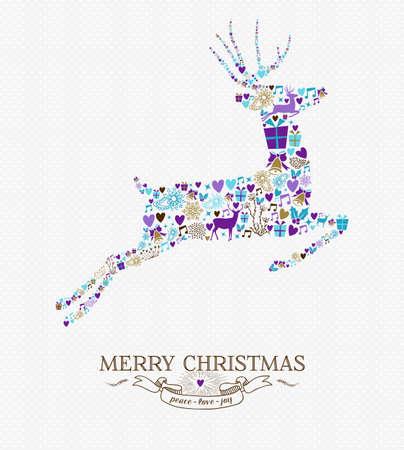 빈티지 복고 스타일 요소 배경으로 순록 모양 점프 메리 크리스마스. 휴일 인사말 카드 또는 크리스마스 파티 초대장에 적합합니다. EPS10 벡터입니다. 일러스트