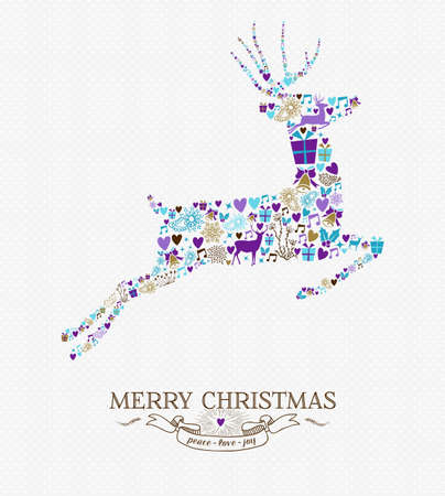Merry Christmas jumping reindeer shape with vintage retro style elements background. Ideal for holiday greeting card or xmas party invitation. EPS10 vector. Vectores