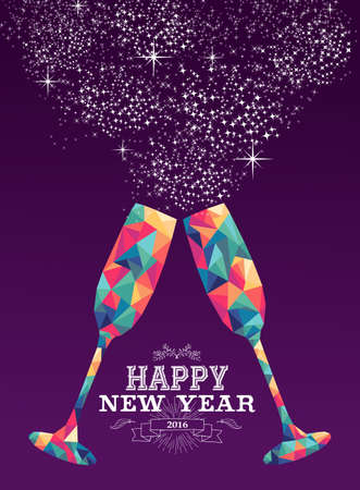 new year card: Happy new year 2016 holiday greeting card or poster design with colorful triangle wine glass and label illustration. EPS10 vector. Illustration