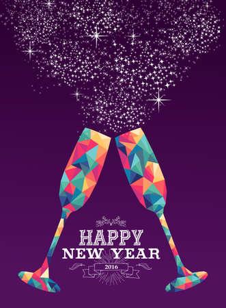 nowy rok: Szczęśliwego nowego roku 2016 karty z pozdrowieniami projekt wakacje lub plakat z kolorowych trójkątów kieliszka i etykieta ilustracji. Wektora EPS10.
