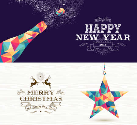 champagne celebration: Happy New Year champagne and Merry Christmas shooting star in hipster triangle shapes. Useful as holiday banners or greeting card designs. EPS10 vector.