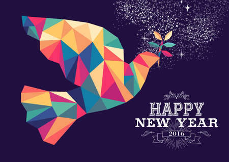 greetings from: Happy new year 2016 greeting card or poster design with colorful triangle peace dove and vintage label illustration. EPS10 vector.