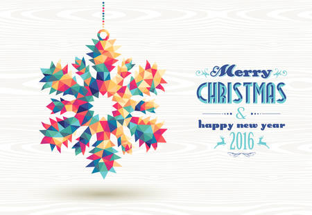 new year card: Merry Christmas and happy new year 2016 retro snowflake made with colorful hipster triangles background. Ideal for holiday greeting card, poster or web template. EPS10 vector.