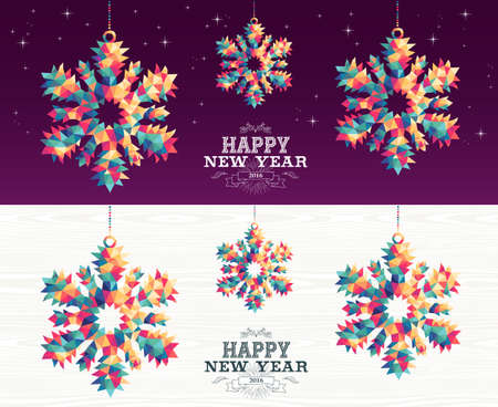 peace and love: Happy new year 2016 colorful hipster triangle snowflake holiday ornaments banner set with night sky and wood background. EPS10 vector.