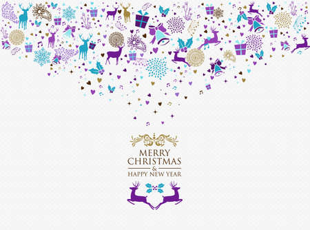 vintage colors: Retro Merry Christmas and Happy New Year splash colors vintage elements postcard background. Ideal for holiday greeting card or party invitation. EPS10 vector