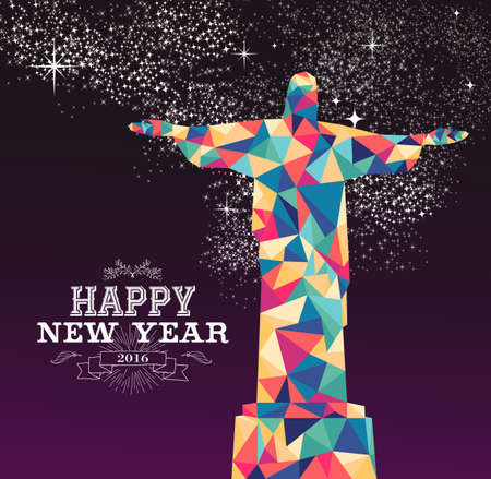corcovado: Happy new year 2016 greeting card or poster design with colorful triangle Rio Brazil statue and vintage label illustration. EPS10 vector.
