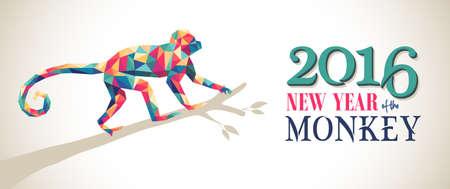 2016 Heureux Nouvel An chinois de la bannière Monkey hippie colorée low poly triangle singe sur la branche d'arbre et le texte. Vecteur EPS10.