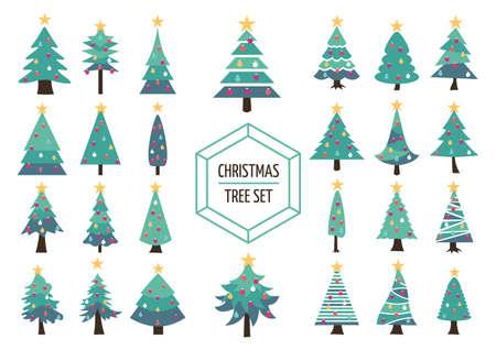 Conjunto de simples modernos pinos de Navidad planas con adornos navideños y la estrella en la parte superior. Ideal para crear el diseño de su propio navidad, web o aplicación. Vector EPS10. Foto de archivo - 46631411