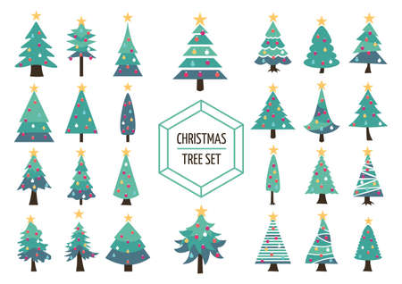 Set of simple modern flat christmas pine trees with holiday ornaments and star on top. Ideal for creating your own xmas design, web or app. EPS10 vector.