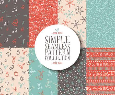 クリスマスのテンプレートと簡単なシームレス パターンのコレクション。手作り休日要素のセット: トナカイや雪の結晶、ギフト、クリスマスの装  イラスト・ベクター素材