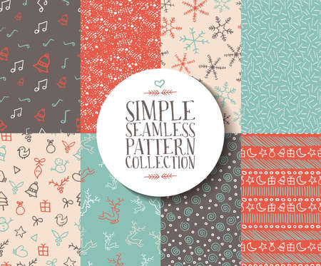 Simple seamless pattern collection with christmas templates. Set of handmade holiday elements: reindeer, snowflake, gift, and xmas ornaments. Ideal for wrapping paper or web background. EPS10 vector.