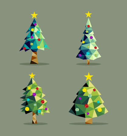 xmas card: Set of christmas pine trees in low poly triangle origami style with xmas ornaments and star on top. EPS10 vector. Illustration