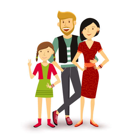 one people: People collection: one child happy family group generation with dad, mom and young daughter in flat style illustration.